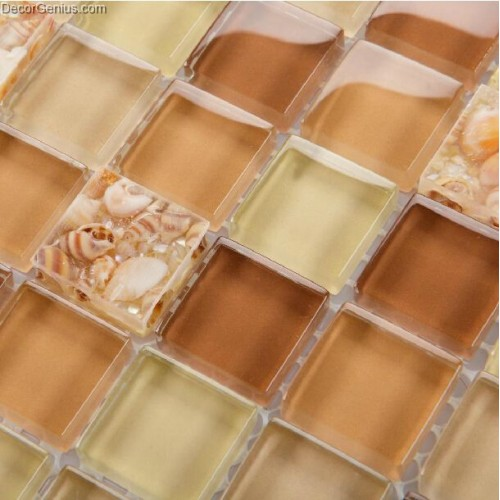 Tawny Brown 4 Color Conch Kitchen Backsplash Tile