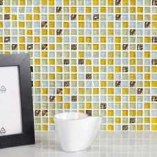 Yellow Golden Frosted  Resin Crystal Home Use Mosaic Tile