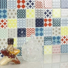Glass Mediterranean Style Kitchen Backsplash Counter Top Mosaic Wall Tile