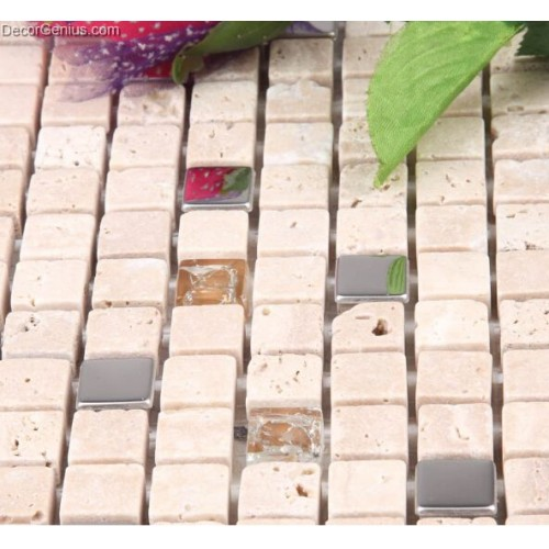 Travertine Stone Floor Tile Lobby Mosaic Counter Top Tile with Stainless Steel Chip