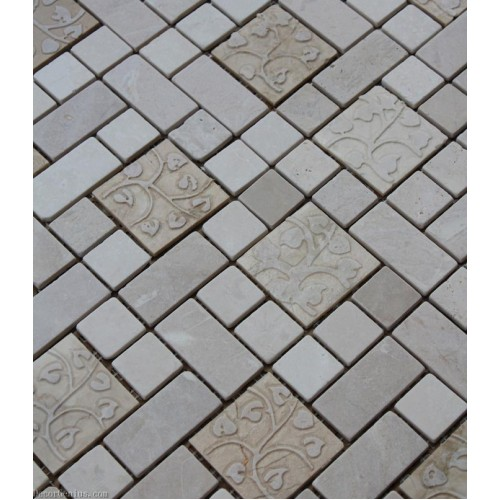 Marble Off White Natural Cutting Mosaic Tile Kitchen Backsplash Tile