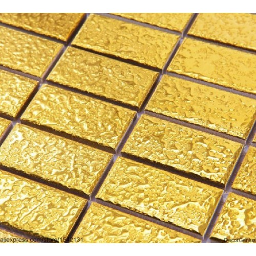 Decorgenius Home Improvement Gold Strip Ceramic Mosaic Tiles DGCM007