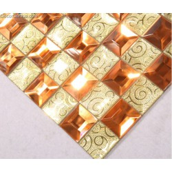 DecorGenius Amber Glass Mosaic Flooring Tile Decoration for Bathroom