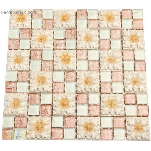 Pink White Crystal with Flower Free Shipping Glass Mosaic Tiles Wholesales