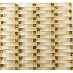 Gold Crystal Woven Glass Decor Mosaic Tiles Kitchen Backsplash Wall Decoration
