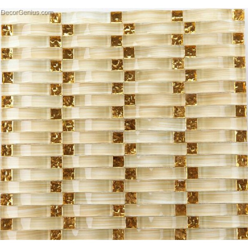 Gold Crystal Woven Glass Decor Glass Bridge Mosaic Tiles