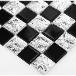 Europe Style Black and Wihte Crystal Classic Glass Mosaic Tiles for Bathroom