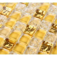 Frosted Yellow Amber Mosaic Art Kitchen Diamond Glass Mosaic Tiles