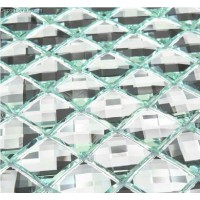 Green Edged Wall Tile 13 Faced Crystal Mirror Glass Mosaic Tile