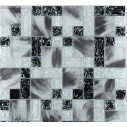 Frosted Black and White Bathroom Mosaic Glass Tile Art Panel Sheets