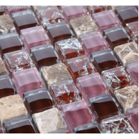 DecorGenius Purple MIxed Color Glass Frosted  Mosaic Tile Blend Wallcovering Mosaic Tiles
