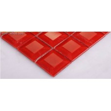 300X300 Glass Mosaic Tiles Glossy Pure Red 5 Faced Design Hot Sale Tile
