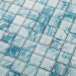 11 Sheets Sky Blue Color Glass Blend Navy Glass Mosaic Tiles Cheap Sink Floor Tile