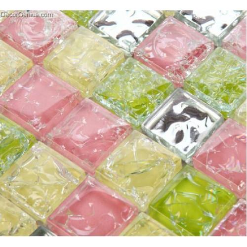 Blend Green Pink Wallcover Tile Diamond Mirror Glass Mosaic Tiles