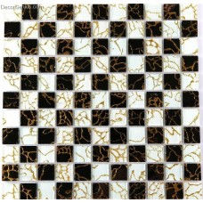 11 Sheets Gold Nailed Backsplash Tile Black and White Home Improvement Glass Mosaic Tiles