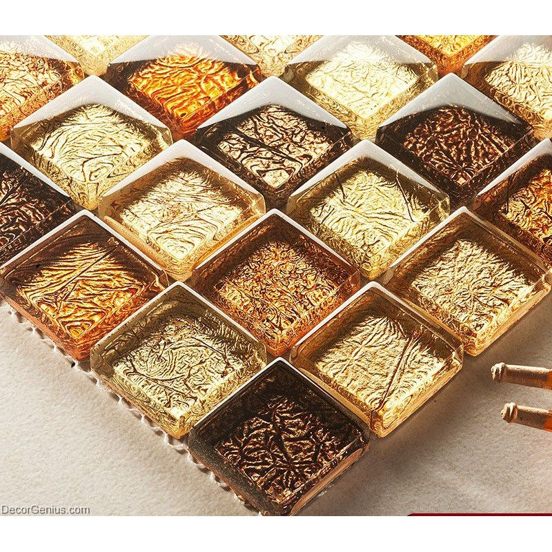 DecorGenius Amber Brown Mosaic Bathroom Floor Tile Home Decor Glass Mosaic Ti