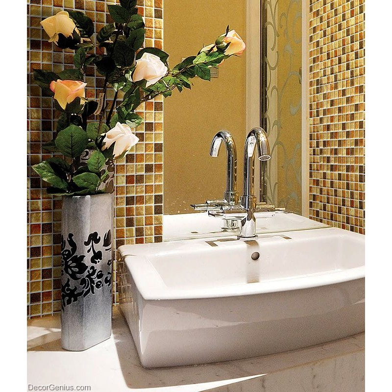Decorgenius amber brown mosaic bathroom floor tile home for Brown glass bathroom accessories