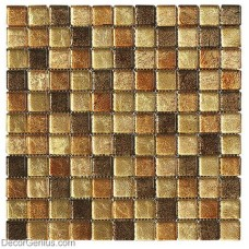 DecorGenius Amber Brown Mosaic Bathroom Floor Tile Home Decor Glass Mosaic Tile Basksplash