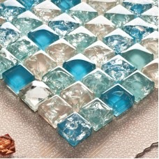 Ice Cracked 3D Diamond Glass Tile Kitchen Glass Mosaic Tiles Building Materials