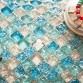 Light Blue Mirror Tile Basksplash Frosted Ice Cracked Glass Tile Mosaic
