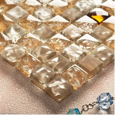 Frosted Ice Cracked 3D Diamond Glass Tile Kitchen Glass Mosaic Tiles Building Materials