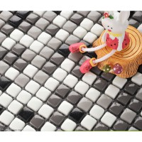 Grey Decorative Panel Tile Sheet Interial Grey Glass Crystal Square Mosaic Tiles
