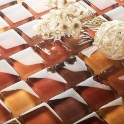 DecorGeius Red Pink Blend Mirror Decorative Mosaic Tiles Sheet Classic Antique Bathroom Tile