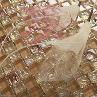 Ice Cracked Crystal Glass Grey Tile Home Floor Bathroom Diamond Mosaic Tiles