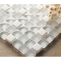 Crystal White Mosaics Glass Bathroom Wall Art Tiles Backsplash Kitchen Decor Tile