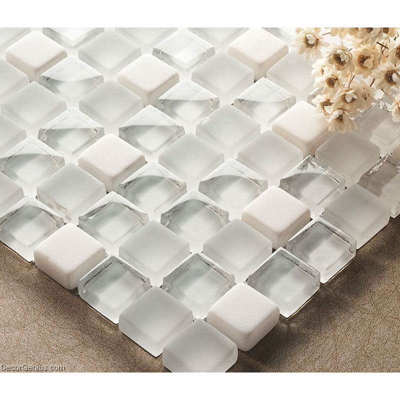 Crystal White Mosaics Glass Bathroom Wall Art Tiles Backsplash
