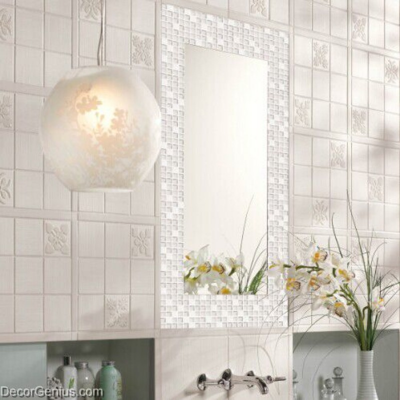 Crystal White Mosaics Glass Bathroom Wall Art Tiles ...