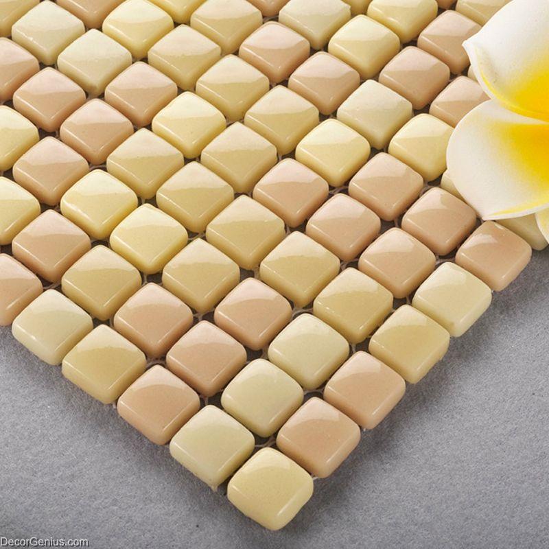 Khaki Blend Glass Mosaic Tiles Home 3d Wall Tile Bathroom Building Materials Dggm067