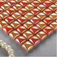 Mixed Amber and Red Diamond Tiles Home 3D Glass Mosaic Tiles DGGM069