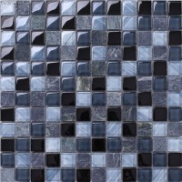 Glass Black Navy Blend Color 8MM Wall Mosaic Tile Kitchen Countop 3D Carved Home Decoration Tiles