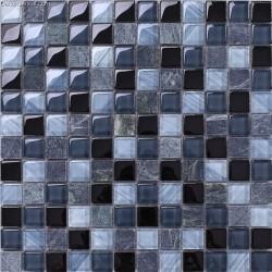 Glass Black Navy Blend Color 8MM Wall Mosaic Tile Kitchen Countop 3D Carved Home Decoration Tiles