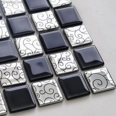 Black and White Flower Carved Flower Tile Crystal Diamond Glass Mosaic Tiles