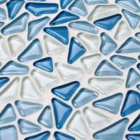 Crystal Blue Pebble-Style Home Decor Wall Tile Modern Backsplash Kitchen 3D Blend Mosaic Tiles