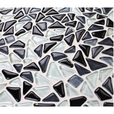 Irregular Black and White Chip 11 Square Feet Home Glass Crystal Mosaic Wall Tiles