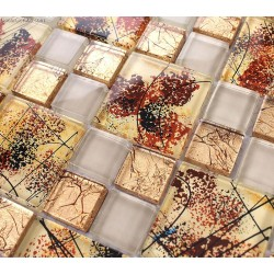 Autumn Style Glass Mosaic 300X300 11 Sheet Tile Glass Fall Season Leaves Yellow Kitchen Wall Tiles