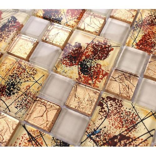 Autumn Style Glass Mosaic 300X300 11 Sheet Tile Glass Fall Season Leaves Yellow Kitchen Wall Tiles