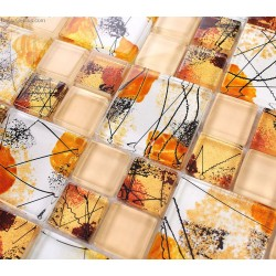 Alternative Autumn Leaves Vintage Mosaic Tiles TV Background 3D Front Desk Wall Tile
