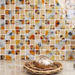 Alternative Autumn Leaves Vintage Mosaic Tiles TV Background 3D Front Desk Wall Tile