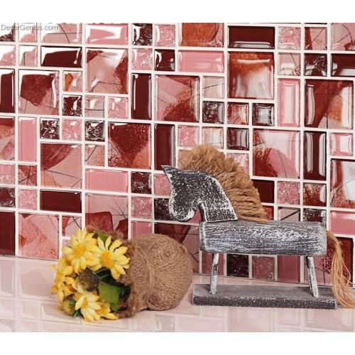 Red Pink Colour Blend Tiles Background Kitchen Backsplash Crystal Mirror Glass Wall Tile