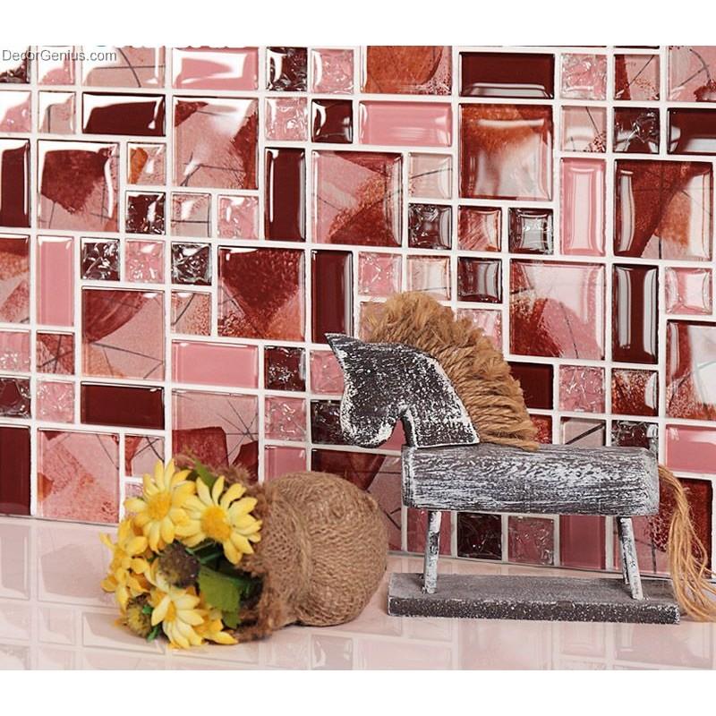 Red Pink Colour Blend Tiles Background Kitchen Backsplash Crystal ...