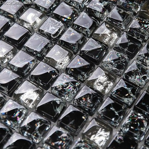 Pure Ice Cracked Black 8MM 300X300 Background Tile Wall Decoration Mosaic Glass Crystal Tiles