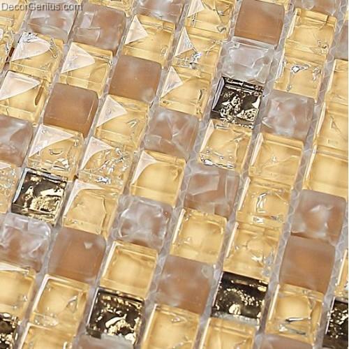 Yellow Blend Amber Floor Tile Diamond Crystal Mosaic Ice Cracked Backsplash Kitchen Wall Tiles