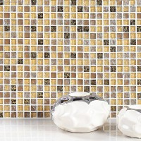 Yellow Blend Amber Floor Tile Diamond Crystal Mosaic Ice Cracked Backsplash Kitchen Wall Tiles