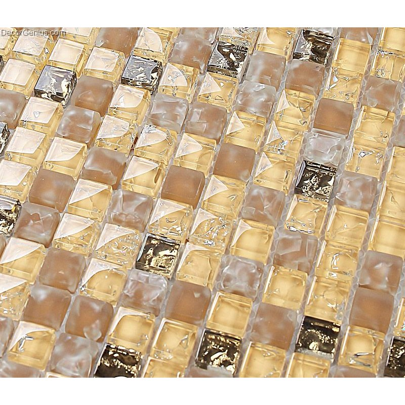 Yellow Blend Amber Floor Tile Diamond Crystal Mosaic Ice Cracked ...