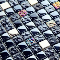 Galvanized Navy Blue Metal Mosaic Wall Tiles Fireplace Toilet Building Materials