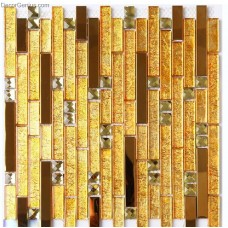 Gold Metal Mosaic Wall Aluminum Tiles for Sink Kitchen Backsplash DGMM003